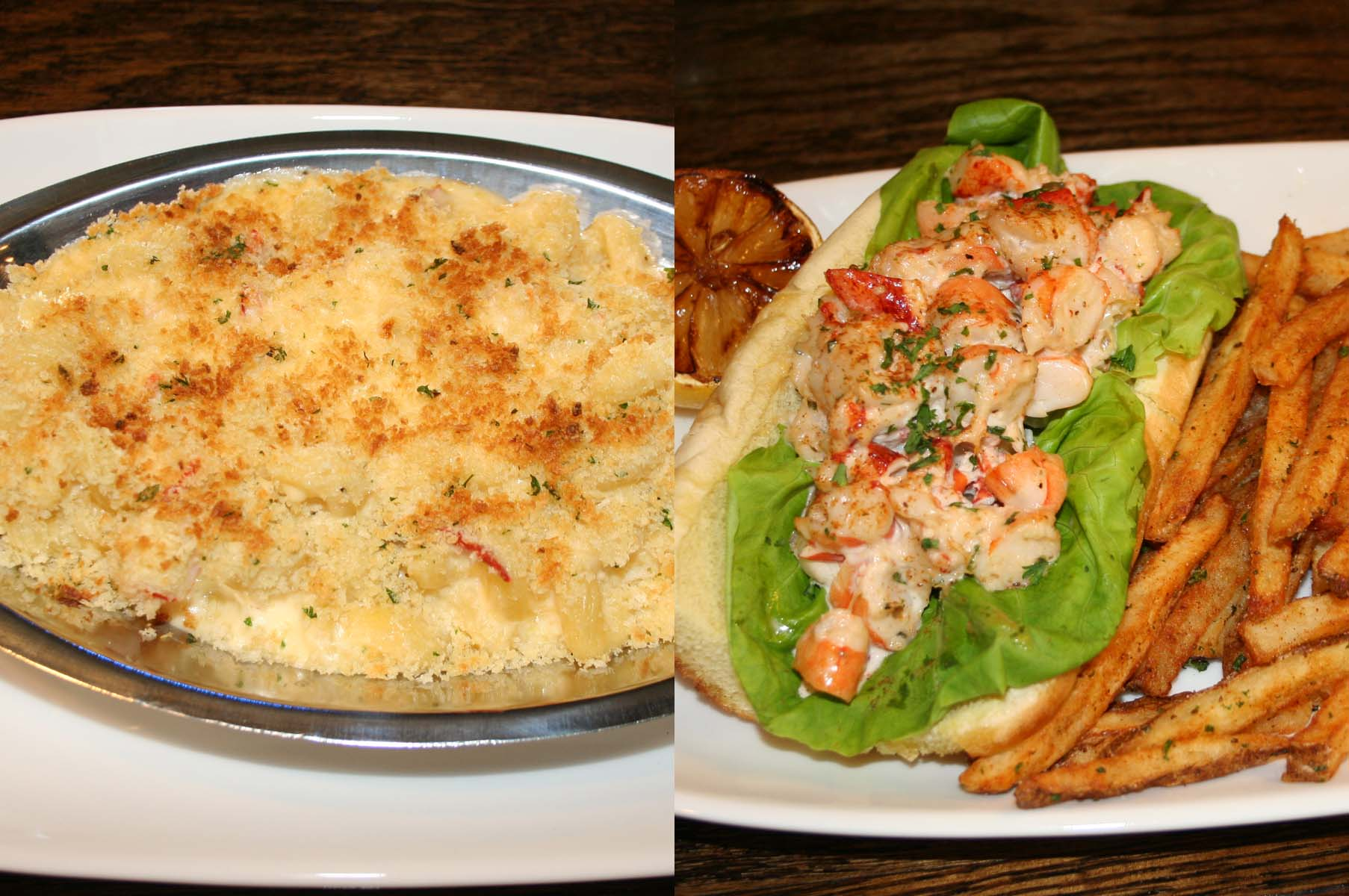 Lobster mac 'n cheese (left) made with Maine lobster, a five cheese blend and cavatappia pasta, and the shrimp and lobster roll with Maine lobster, North Carolina shrimp and tarragon aioli on a butter-toasted roll are on the menu. (Photos: Mark Heckathorn/DC on Heels)