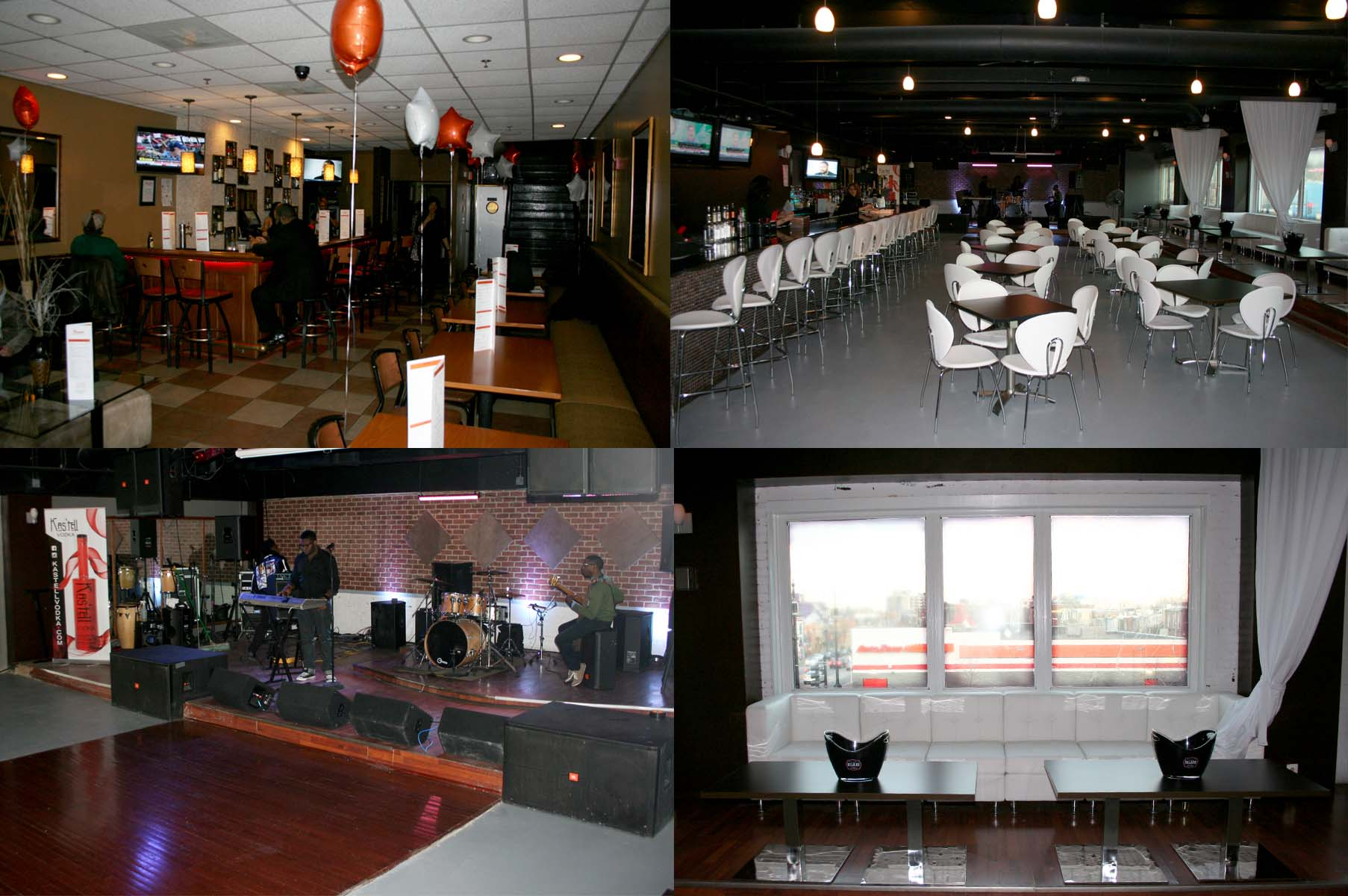 Touche's downstairs lounge (clockwise from top left), upstairs club, one of the private lounges and the stage and dance floor. (Photos: Mark Heckathorn/DC on Heels)
