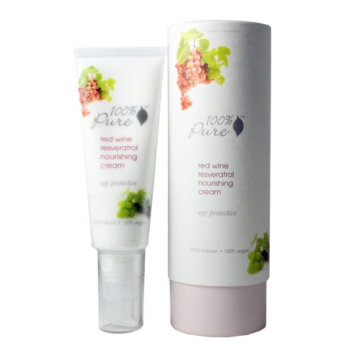 100 Percent Pure Red Wine Resveratrol Nourishing Cream: This cream smells great and plumps up the skin with red wine extract, resveratrol, green tea and rose hydrosol. (Photo: 100 Percent)