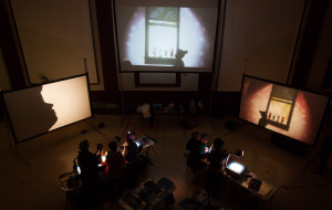 Puppeteers from Manual Cinema tell their stories using overhead projectors and silhouettes. (Photo: Manual Cinema)