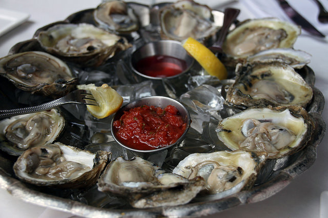"""Oysters are """"a buck a shuck"""" at Grillfish's all-day weekend happy hour from 11 a.m.-7 p.m. as well as 4-7 p.m. weekdays. (Photo: Becca/Bitches Who Brunch)"""