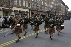 Bagpipers in the 2014 St. Patrick's Day Parade in Old Town Alexandria. (Photo: Bellyshaners)