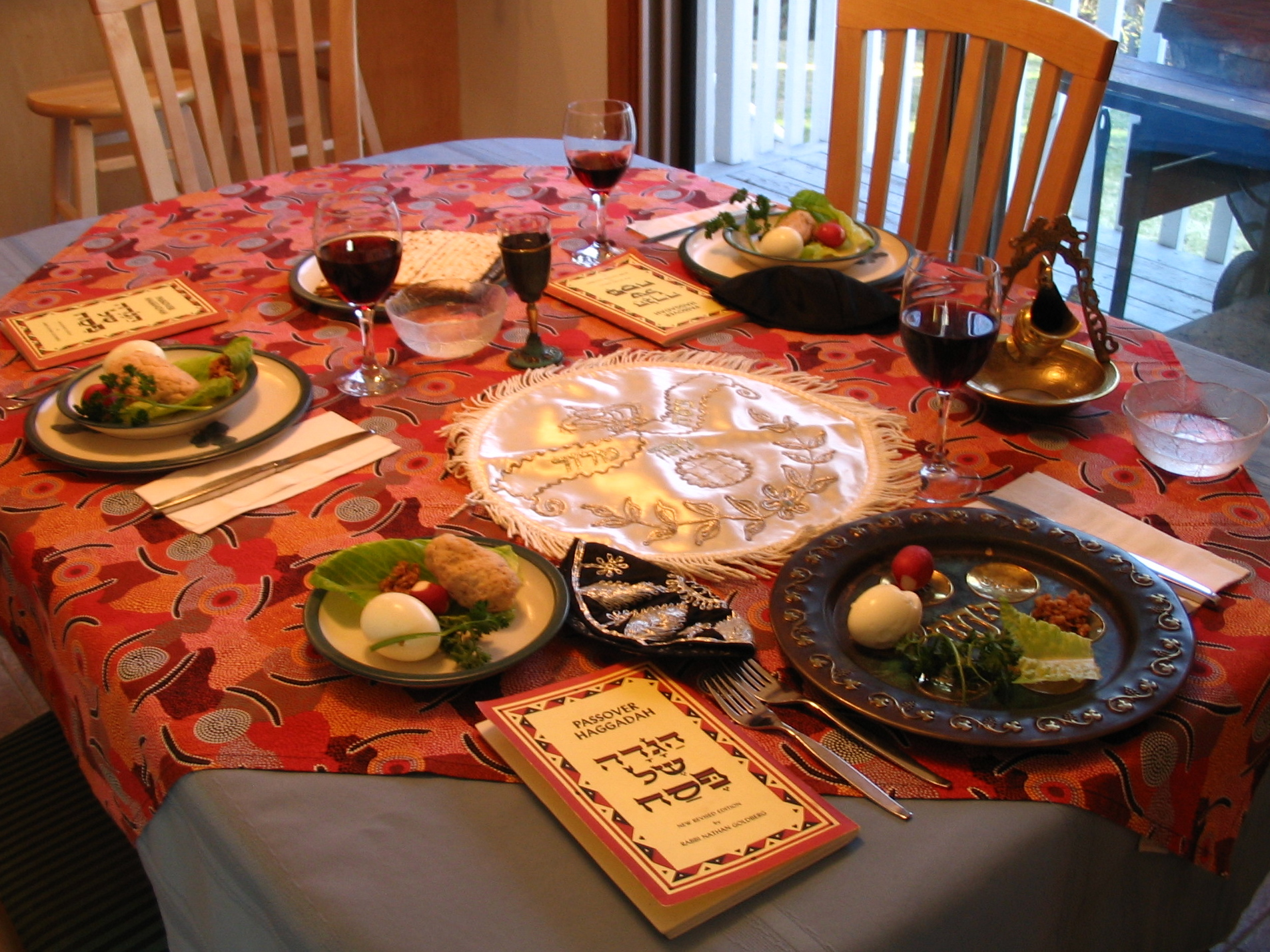 A table set for a Passover seder. (Photo: Wikipedia)