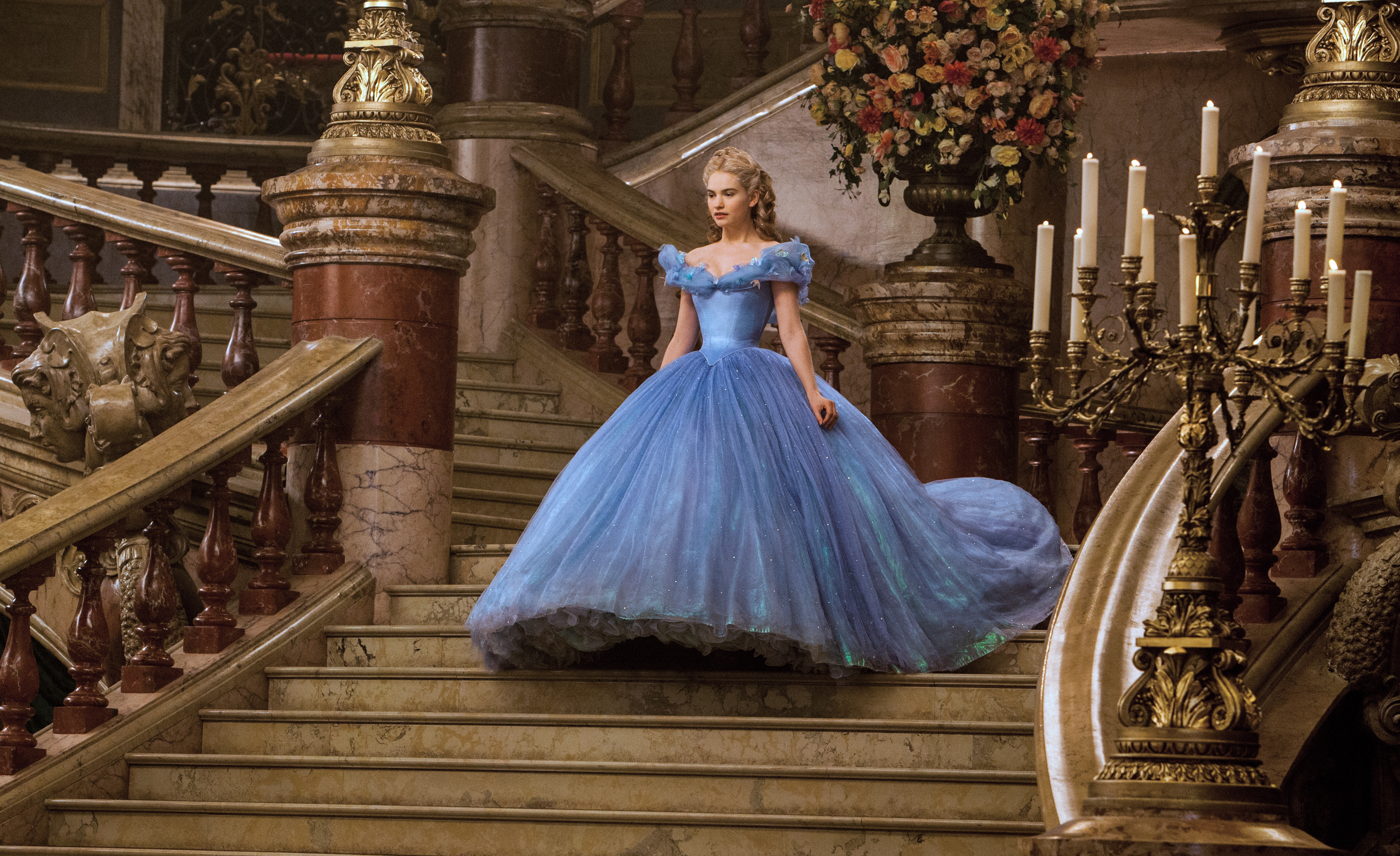 Cinderella (Lily James) enters the ball in Cinderella. (Photo: Disney)