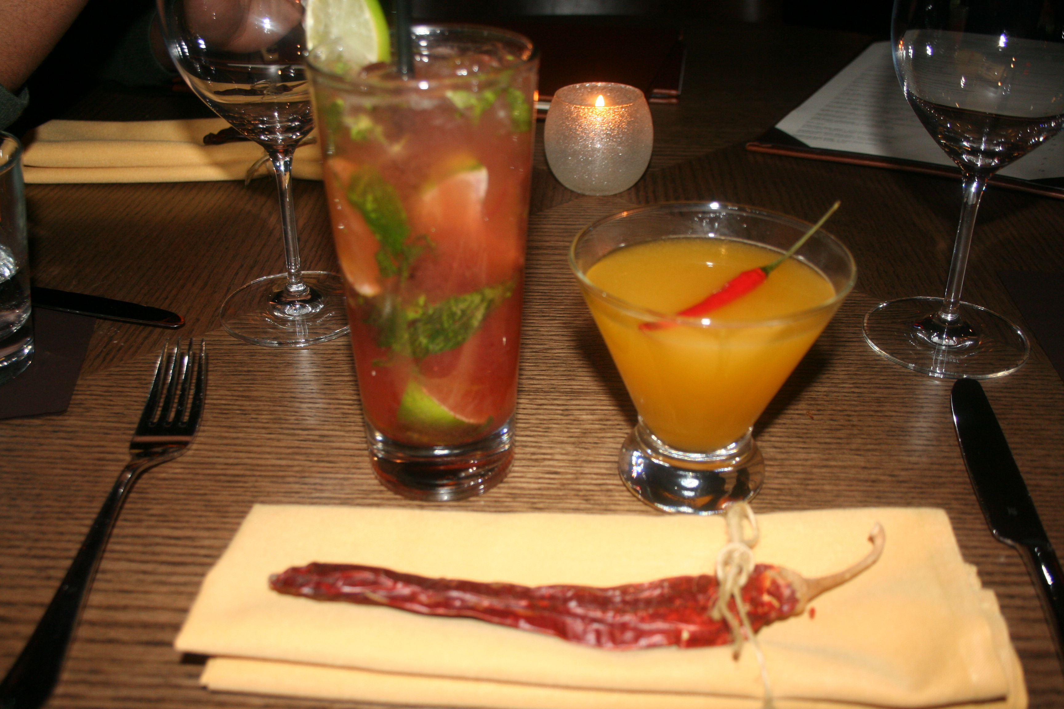 The strawberry basil caipirinha (left) is fruity while the Spicy Siam is sweet and spicy. (Photo: Mark Heckathorn/DC on Heels)