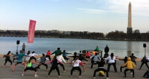 Take free fitness classes at the Washington Monument every Saturday from 10 a.m.-noon during the National Cherry Blossom Festival. (Photo: National Cherry Blossom Festival)