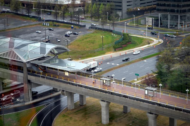 From the Tysons Corner Metro platform, you can see the building that houses Founding Farmers (top right) as well as PriceWaterhouse Coopers and HSBC bank. (Photo: The Tysons Corner)