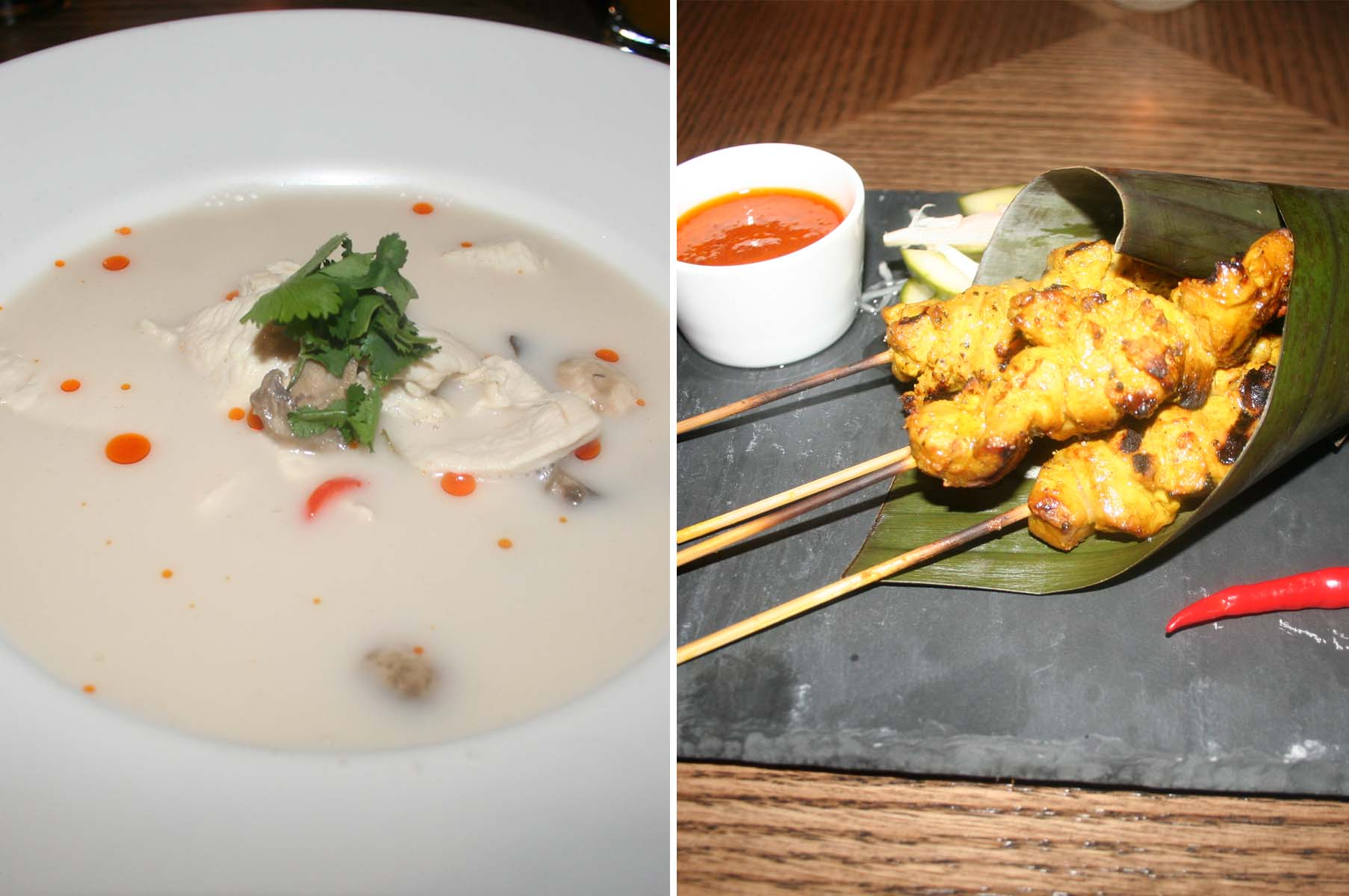Appetizers at Mango Tree include traditional tom kha gai chicken soup (left) and char-grilled beef satay. (Photos: Mark Heckathorn/DC on Heels)