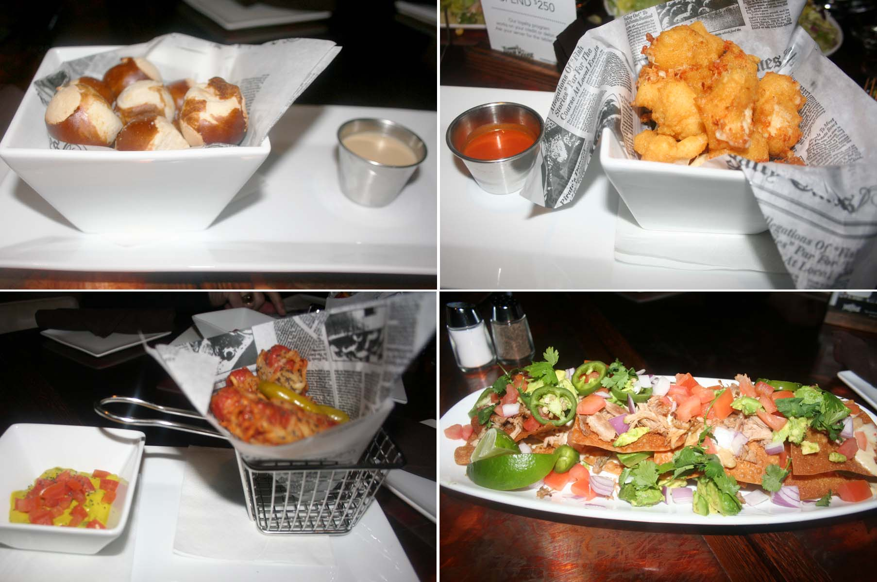 Starters at Old Town Pour House include pretzel bites with cheese (clockwise from top left), cheese curds, duck confit nachos and Chicago dogs. (Photos: Mark Heckathorn/DC on Heels)