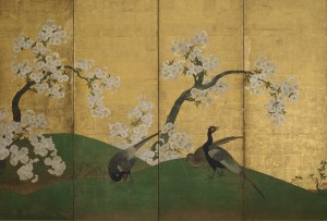 A screen painted with cherry blossoms from the Freer Gallery display. (Photo: Smithsonian Institution)
