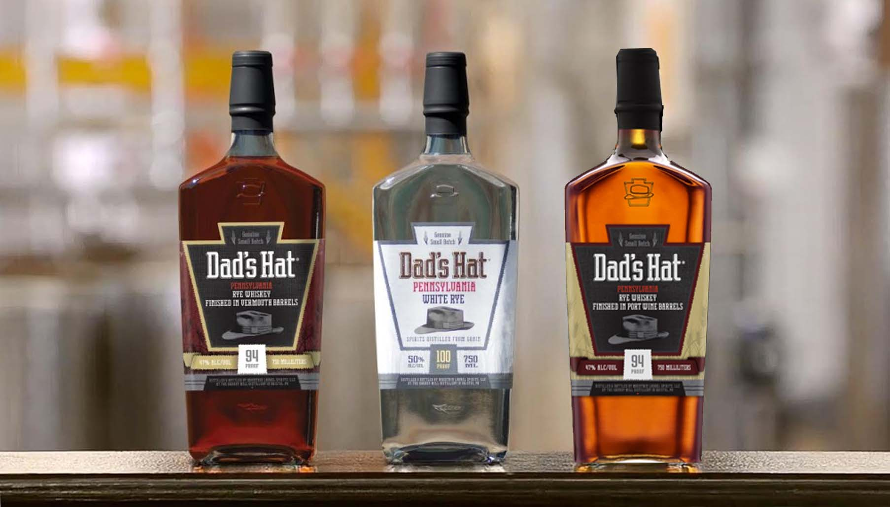 Dad's Hat Dad's Hat Rye finished in vermouth barrels, Dad's Hat Pennsylvania White Rye and Dad's Hat rye finished in port barrels. (Photo: Dad's Hat)