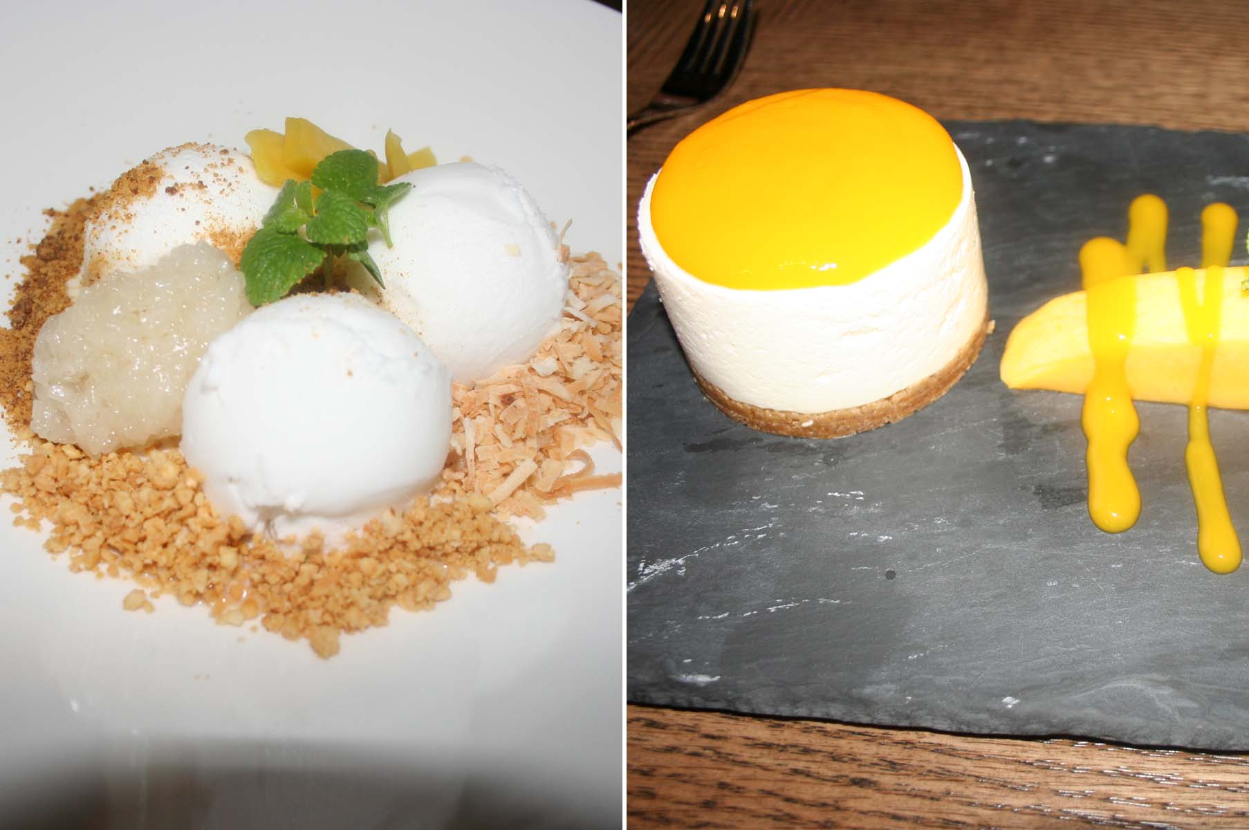 Both the Thai street coconut ice cream (left) and mango cheesecake make an excellent end to your meal. (Photos: Mark Heckathorn/DC on Heels)