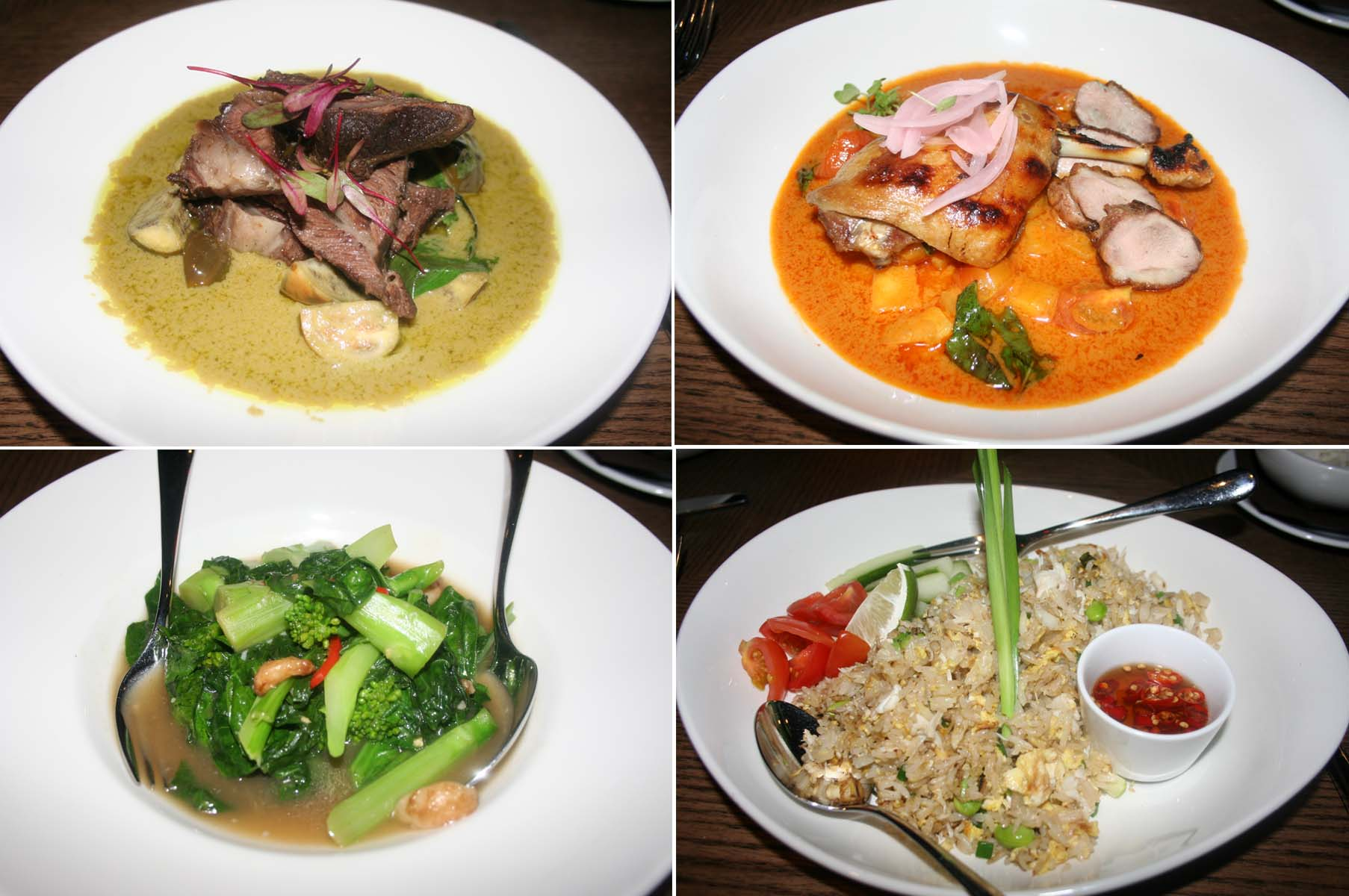 The braised beef cheek in green curry (clockwise from top left), duck two-ways, crab stir-fried rice and stir-fried kale with ginger. (Photo: Mark Heckathorn/DC on Heels)