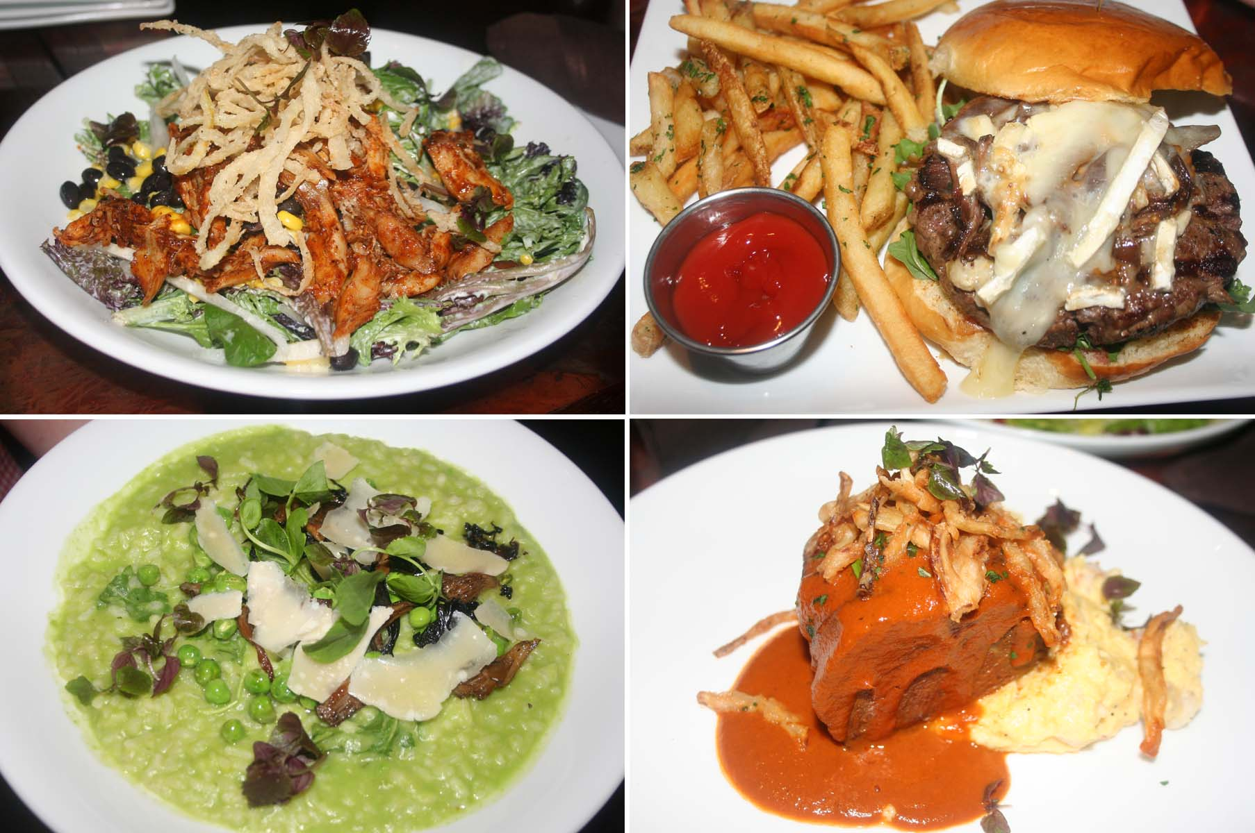 Entrees include the BBQ chicken salad (clockwise from top left), Wagyu beef burger, braised short rib and shrimp grits and pea risotto. (Photos: Mark Heckathorn/DC on Heels)