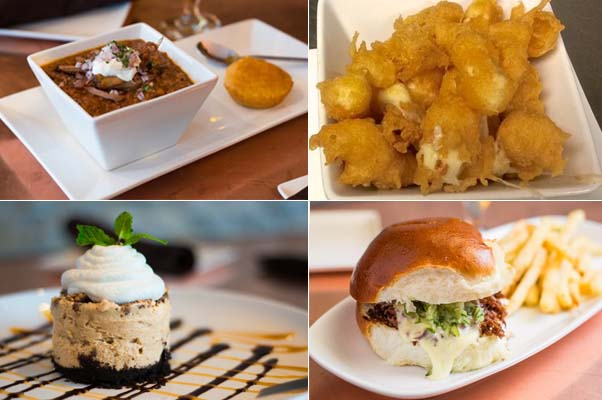 Menu items include the 1871 chili (clockwise from top left), cheese curds, smoked brisket sandwich and peanut butter Snickers pie. (Photos: Lee C./Yelp)