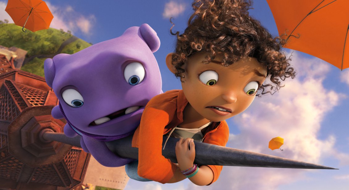 "Jim Parsons is the voice of Oh (left) and Rihanna is the voice of Gratuity 'Tip' Tucci in Dreamworks Animation's ""Home."" (Photo: Dreamworks Animations)"