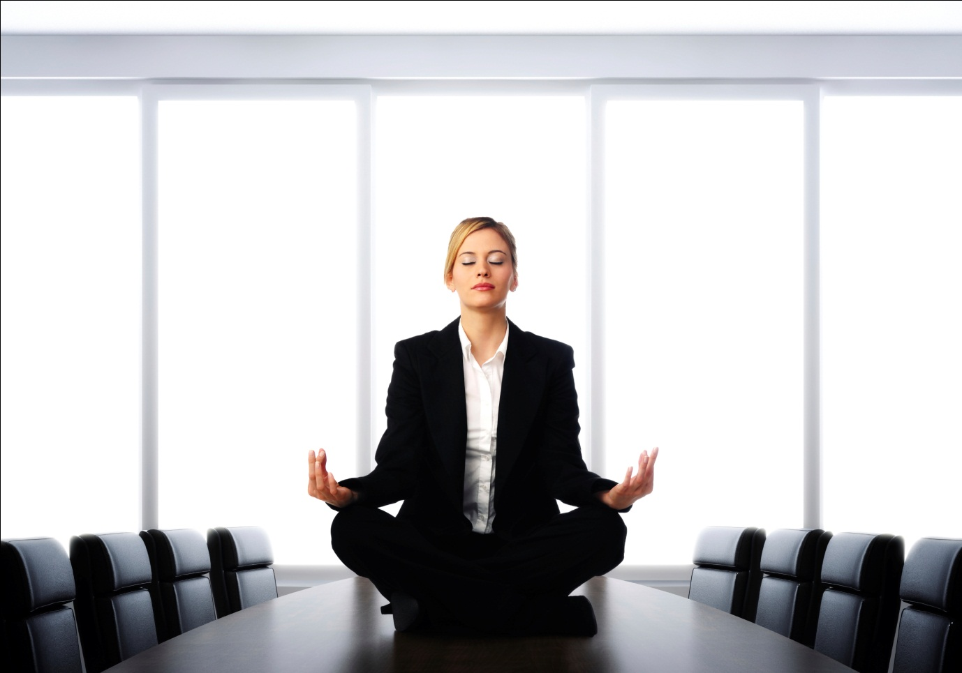 "Find ways to retreat to a mental ""safe place"" throughout the day like closing your eyes and meditating in an empty conference room. (Photo: Whole Science)"