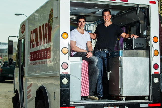 The Peruvian Brothers, Mario (left) and Giuseppe  Lanzone, in their food truck. (Photo: Peruvian Brothers)