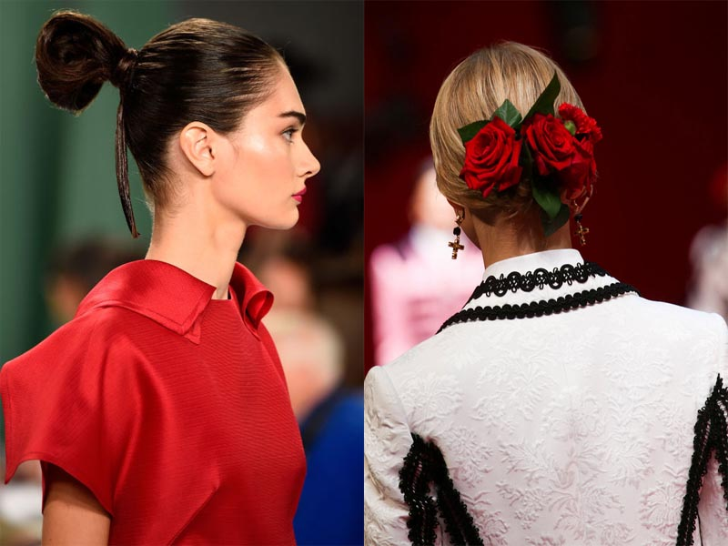"""Try an elegant up-do this spring--""""sumo"""" or Spanish influenced (Photos: Imaxtree-left, Marcus Tondo-right)"""