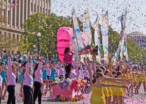 A group performs in front of the National Archives in a previous Cherry Blossom parade. (Photo: National Cherry Blossom Festival)