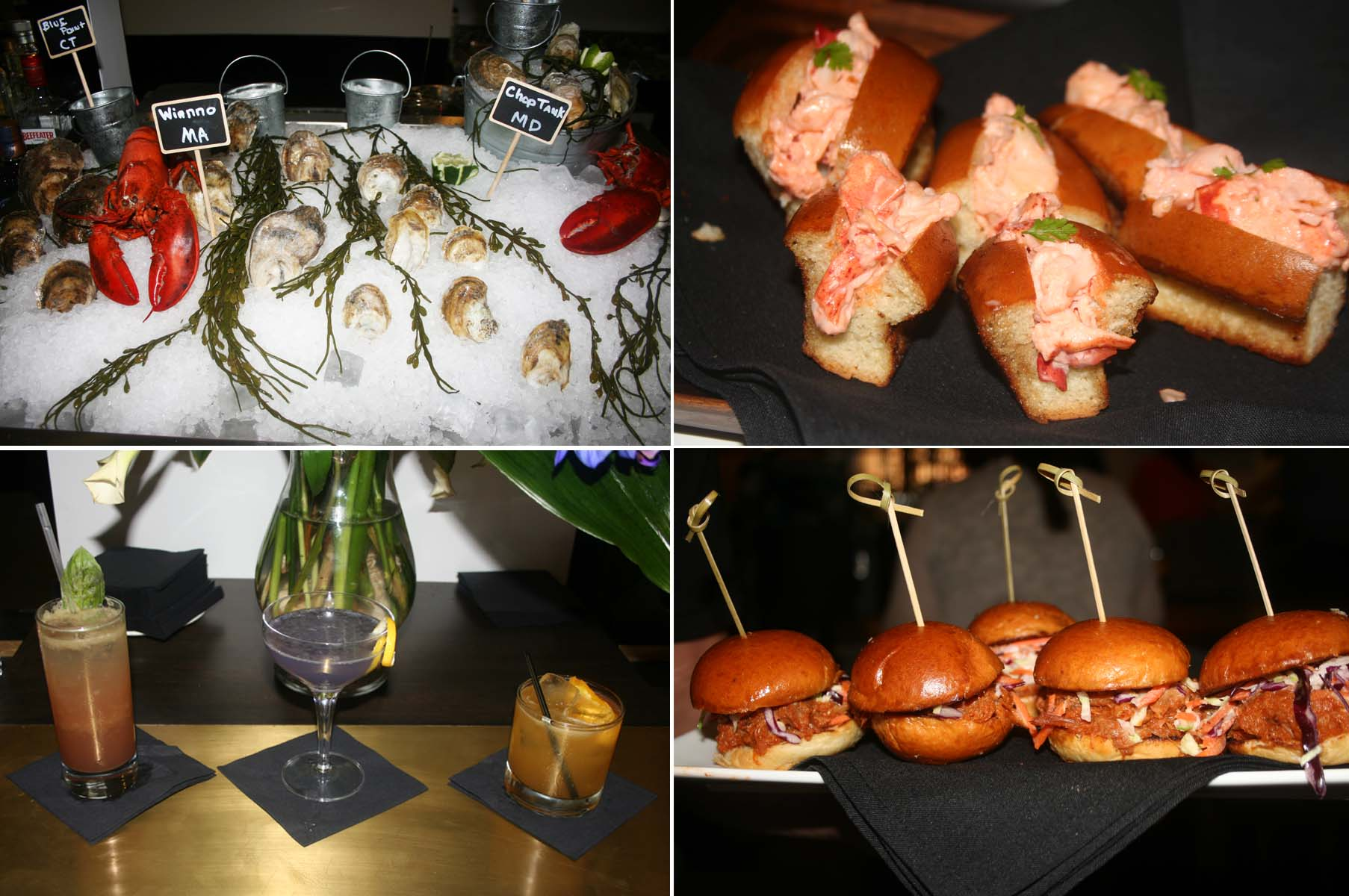 All Set's menu includes a raw bar (clockwise from top left), lobster rolls, BBQ pork sliders and house cocktails The Provincetown, Crazy for Layla and The Perfect Storm. (Photos: Mark Heckathorn/DC on Heels)
