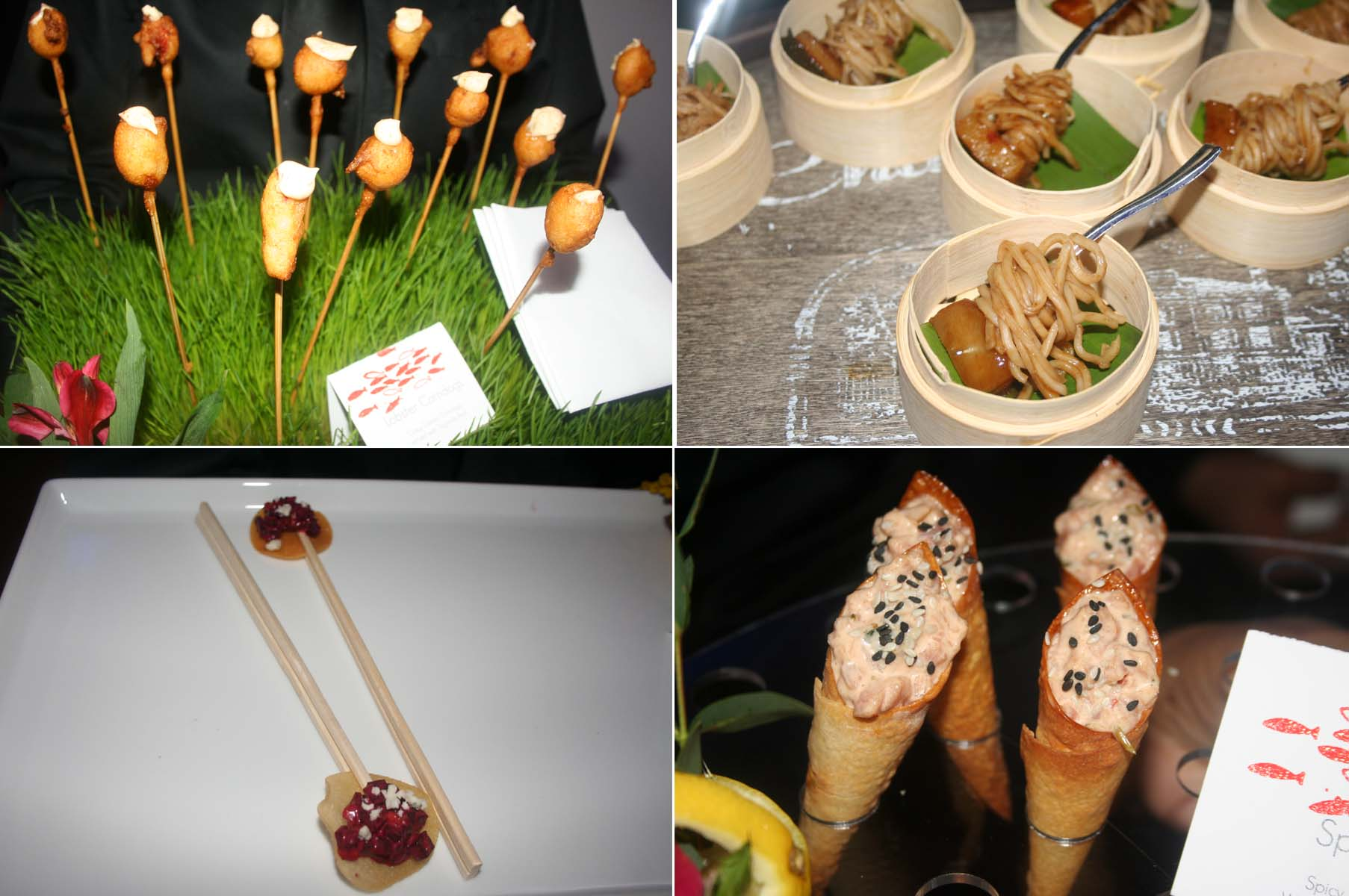 Hors d'oeuvres from Spilled Milk Catering included lobster corndogs (clockwise from top left), Chinese pork belly, spicy tuna in a wonton cone and roasted beet salad. (Photos: Mark Heckathorn/DC on Heels)
