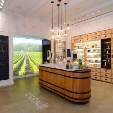 The inside is inspired by a winery in Bordeaux and features a Beauty Barrel Bar. (Photo: Caudalie)