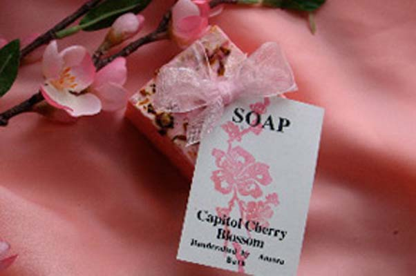 Capitol Cherry Blossom Soap is made with pure shea butter and olive oil and is good for all skin types. (Photo: Aurora Bath and Jewels)