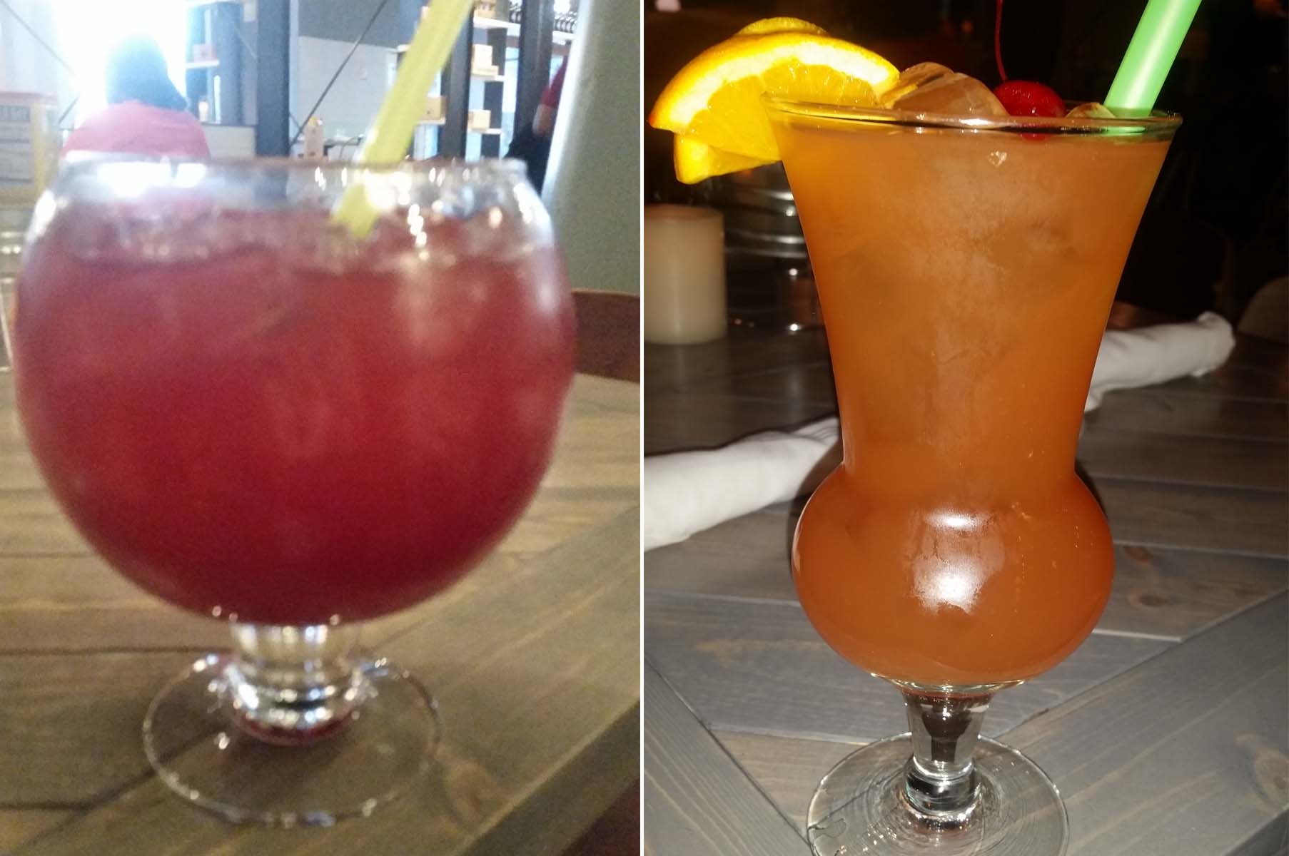 "Drinks include the 52-ounce ""Walrus bowl"" sangria (left) and the  20-ounce  goblet of Harbor Hurricane punch. (Photos: Mark Heckathorn/DC on Heels)"