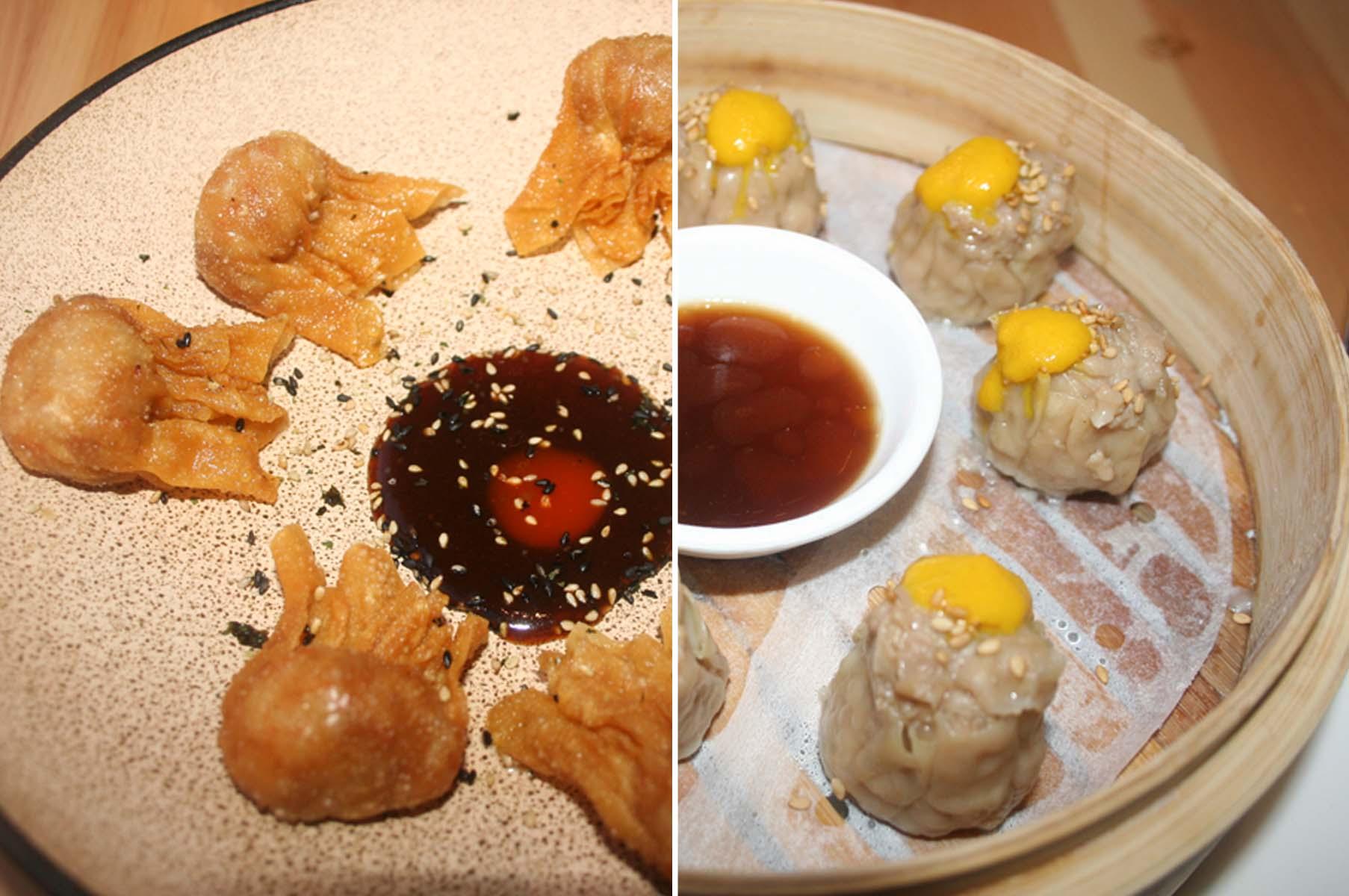 The fried kam lu wantán shrimp and pork dumplings (left) and the pollo siu mai chicken steamed dumplings. (Photos: Mark Heckathorn/DC on Heels)