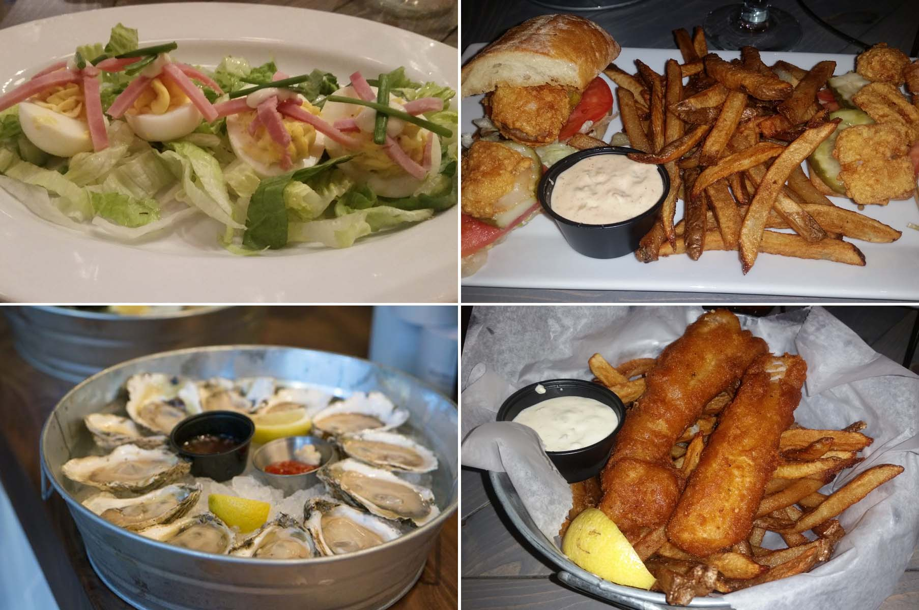 Dishes at the Walrus Oyster & Ale House include deviled eggs (clockwise from top left), scallop po' boy, fish and chips, and raw oysters. (Photos: Mark Heckathorn/DC on Heels)