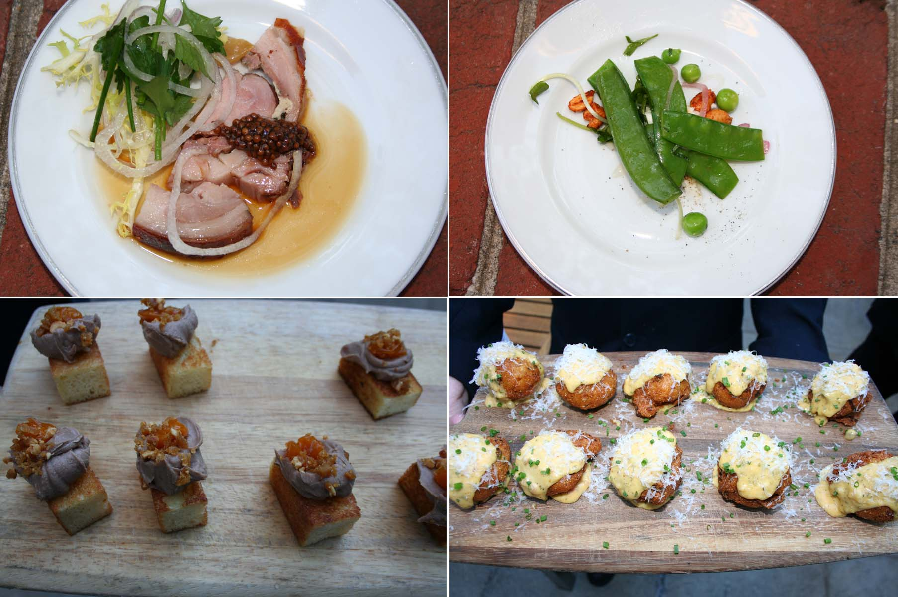 Spring menu items include the slow-roasted porchetta (clockwise from top left), spring pea salad, blue-crab hushpuppes and foie gras custard on country bread. (Photos: Mark Heckathorn/DC on Heels)