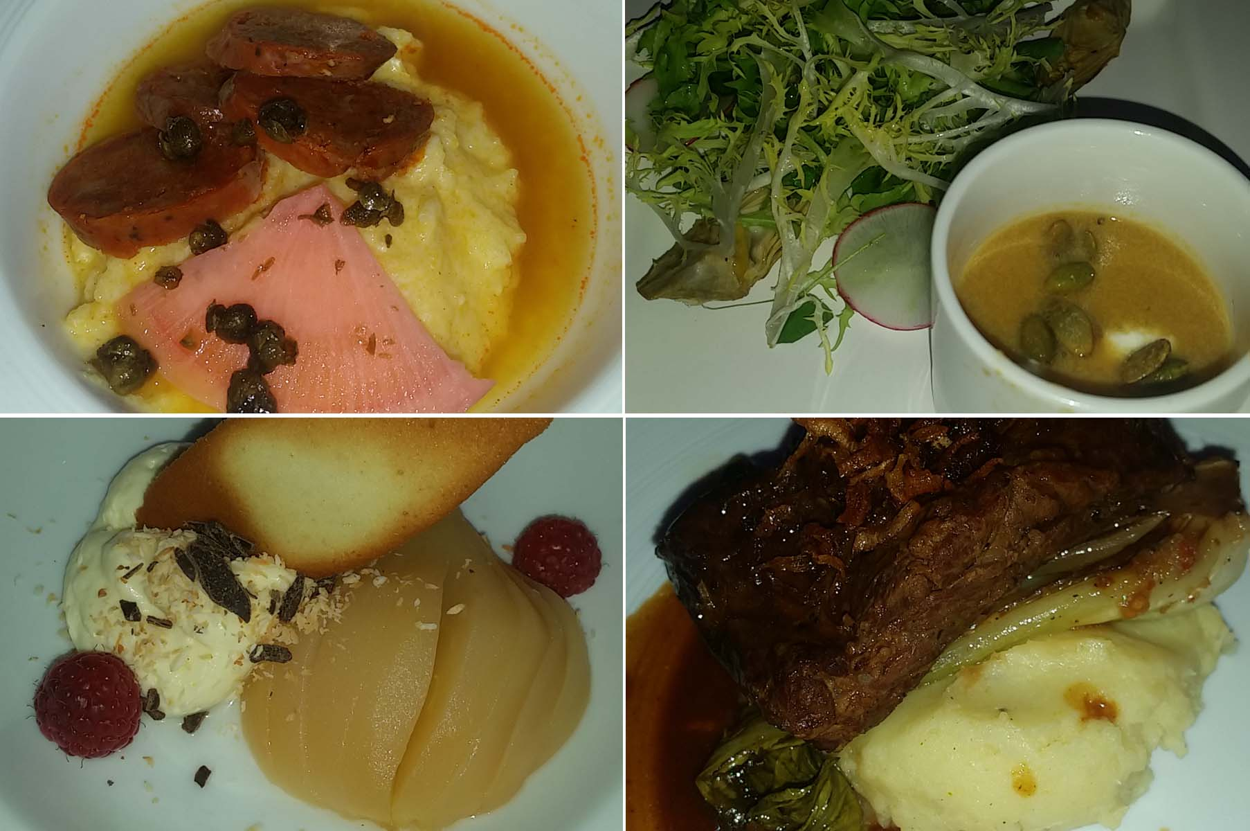 The four-course meal included s smoked chorizo (clockwise from top left), smoked corn chowder and a mixed green salad, coconut braised short ribs with pommes puree and a poached pear with white chocolate mousse. (Photos: Mark Heckathorn/DC on Heels)