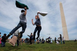 Saturday is International Pillow Fight Day and the Capitol Improv will hold its 7th annual pillow fight at the Washington Monument. (Photo: Capitol Improv)