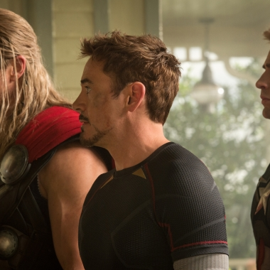 Thor (Chris Hemsworth, l to r), Iron Man/Tony Stark (Robert Downey Jr.) and Captain America/Steve Rogers (Chris Evans) in