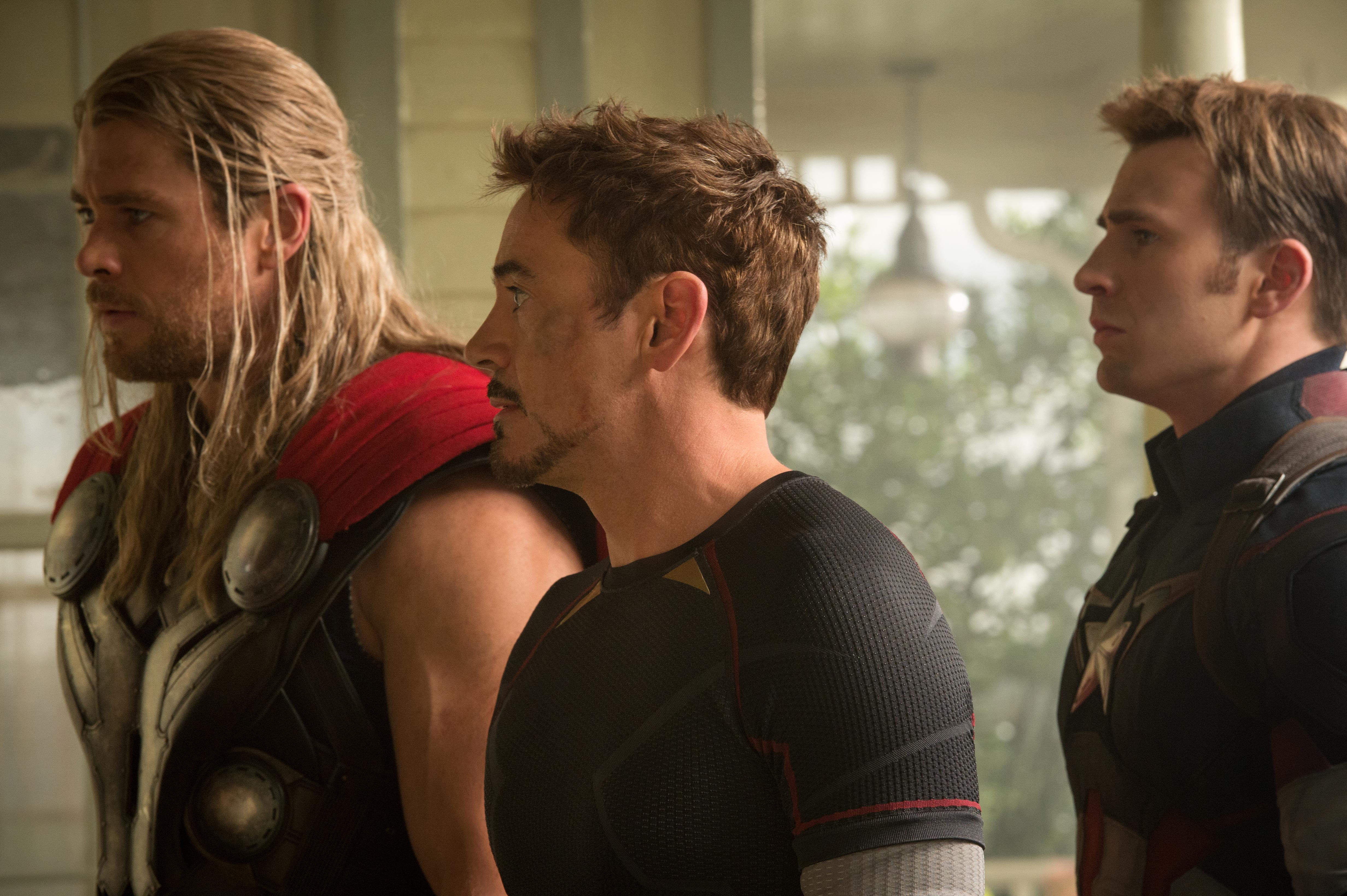 "Thor (Chris Hemsworth, l to r), Iron Man/Tony Stark (Robert Downey Jr.) and Captain America/Steve Rogers (Chris Evans) in ""Avengers: Age of Ultron.""(Photo: Jay Maidmen/Marvel)"