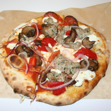The Butcher personal pizza from Veloce with added mushrooms. (Photo: Mark Heckathorn/DC on Heels)