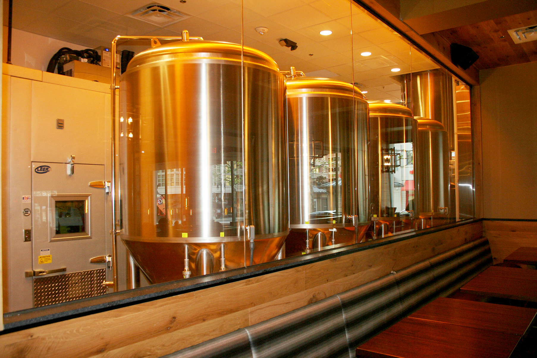 Wort is shipped in from a central brewing facility then finished in tanks at National Harbor. (Photo: Mark Heckathorn/DC on Heels)