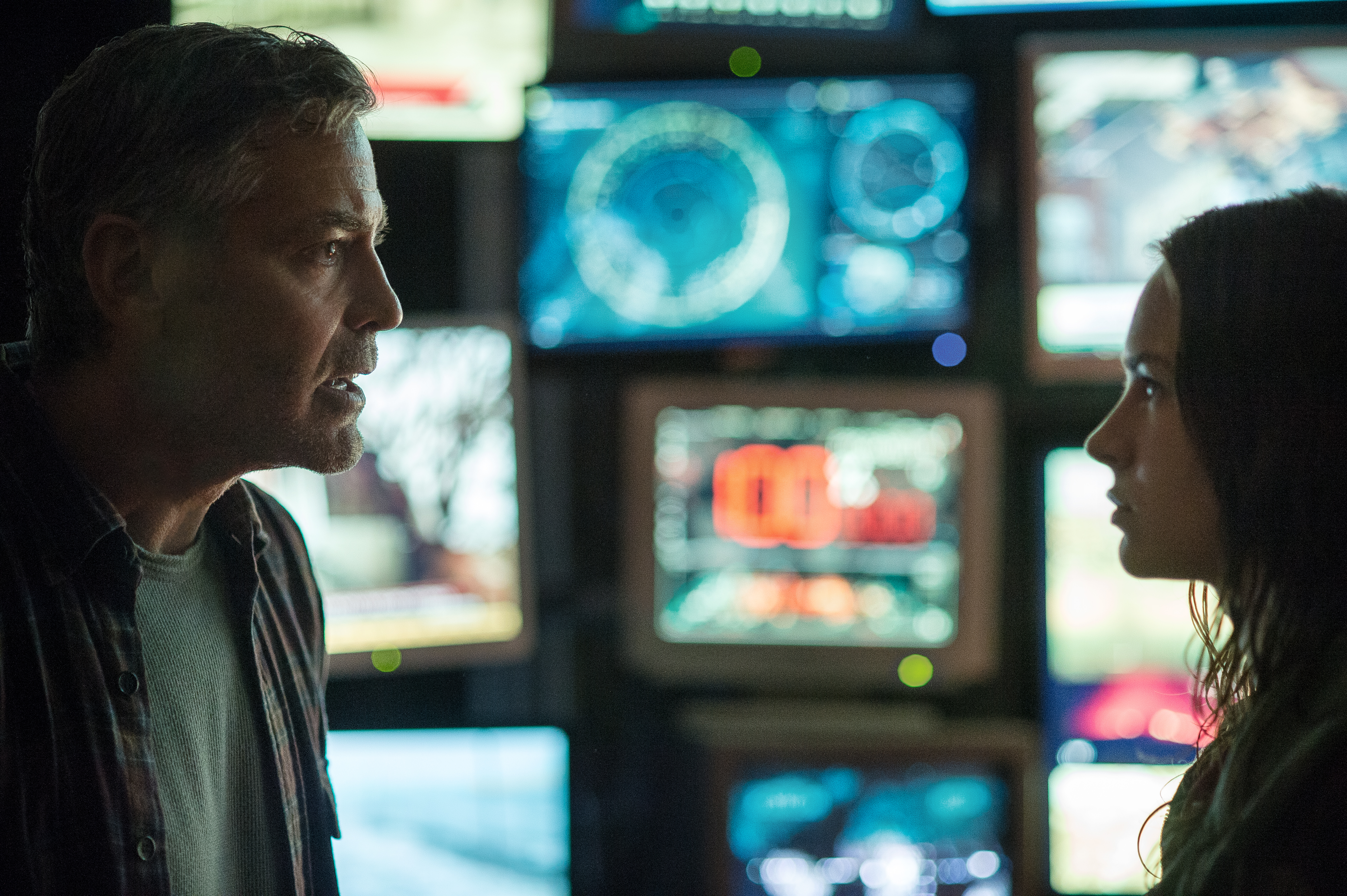 "Frank (George Clooney, left) and Casey (Britt Robertson) in  ""Tomorrowland."" (Photo: Kimberley French/Disney)"