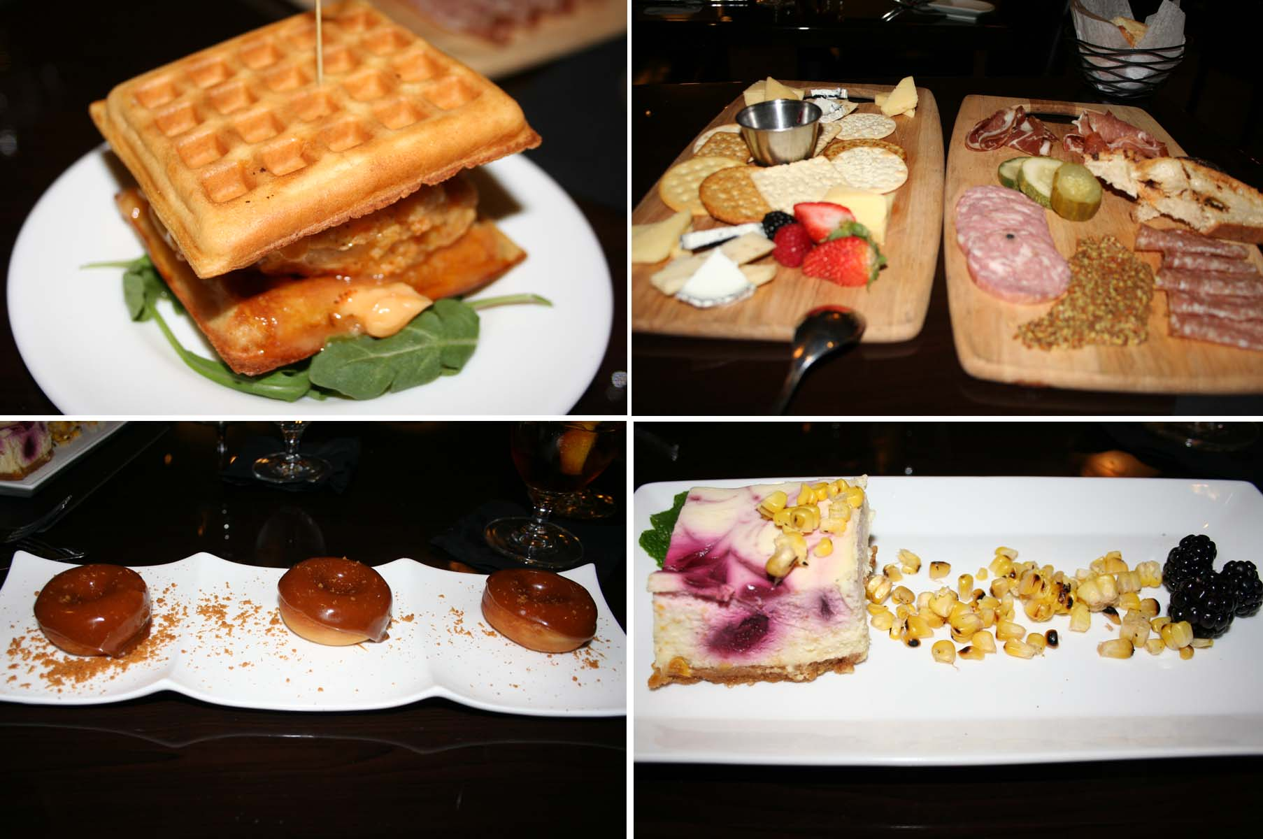 The chicken and waffle sandwich (clockwise from top left) off the happy hour bar menu was the best dish of the meal. Others include the cheese and cracker and carved meat boards, the tasty blackberry and corn cheesecake and fresh doughnuts with European cookie glaze. (Photos: Mark Heckathorn/DC on Heels)