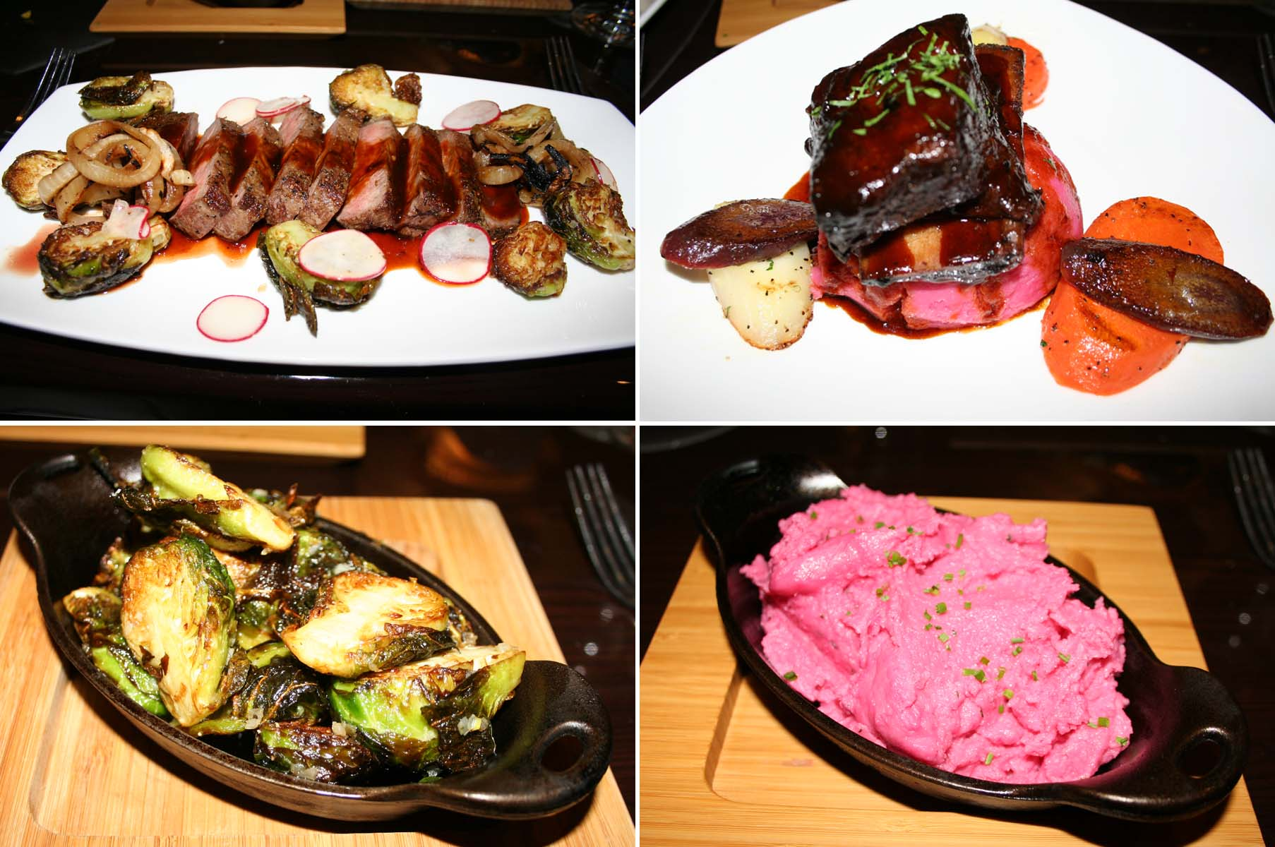 Noelia's entrees include strip loin (clockwise from top left) and malt-braised short rib, while the better dishes were the beet-infused mashed potatoes and the crispy Brussels sprouts. (Photos: Mark Heckathorn/DC on Heels)