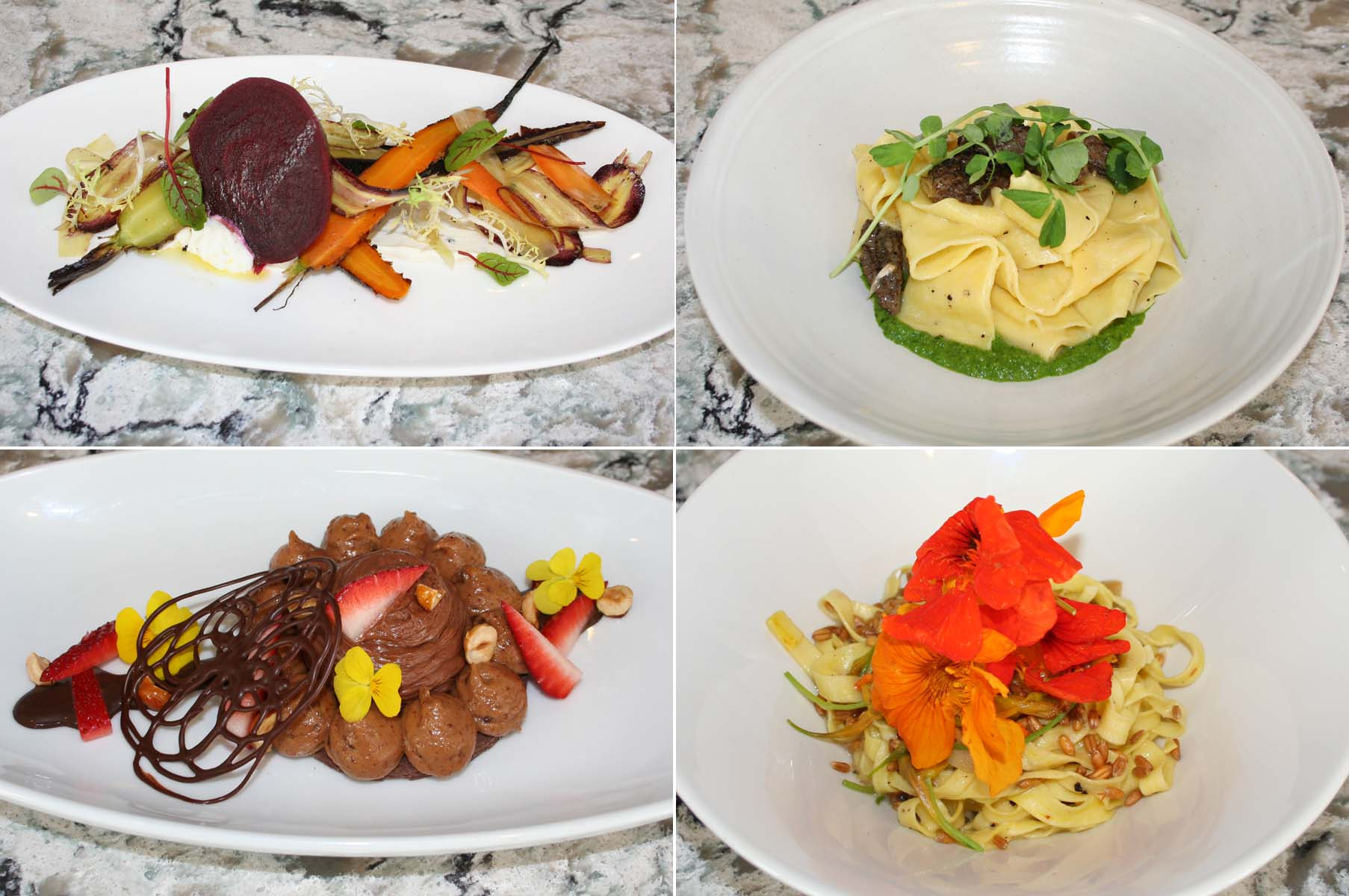 Centrolina's opening menu includes a salad of roasted beets and carrots (clockwise from top left), pappardelle with morels and asparagus, chitarra pasta with wheat berries and nasturium, and chocolate mousse with hazelnut cremeaux and caramelized Piedmont hazelnuts. (Photos: Mark Heckathorn/DC on Heels)