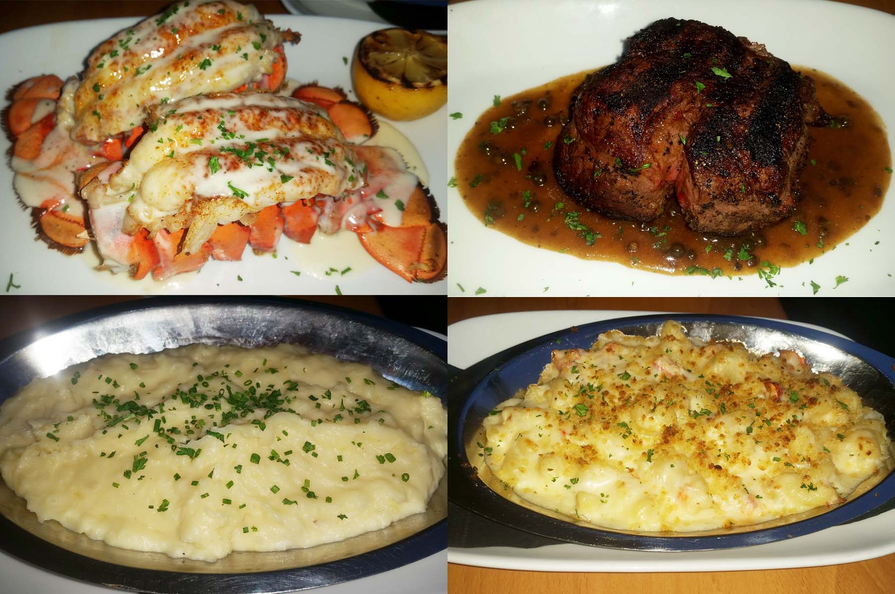 A la carte proteins include twin lobster tails (clockwise from top left) and filet mignon while sides include lobster mac n' cheese and gouda mashed potatoes. (Photos: Mark Heckathorn/DC on Heels)