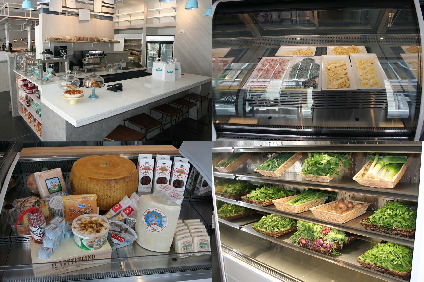 The market's coffee bar (clockwise from top left), fresh pasta case, produce and cheese case. (Photos: Mark Heckathorn/DC on Heels)