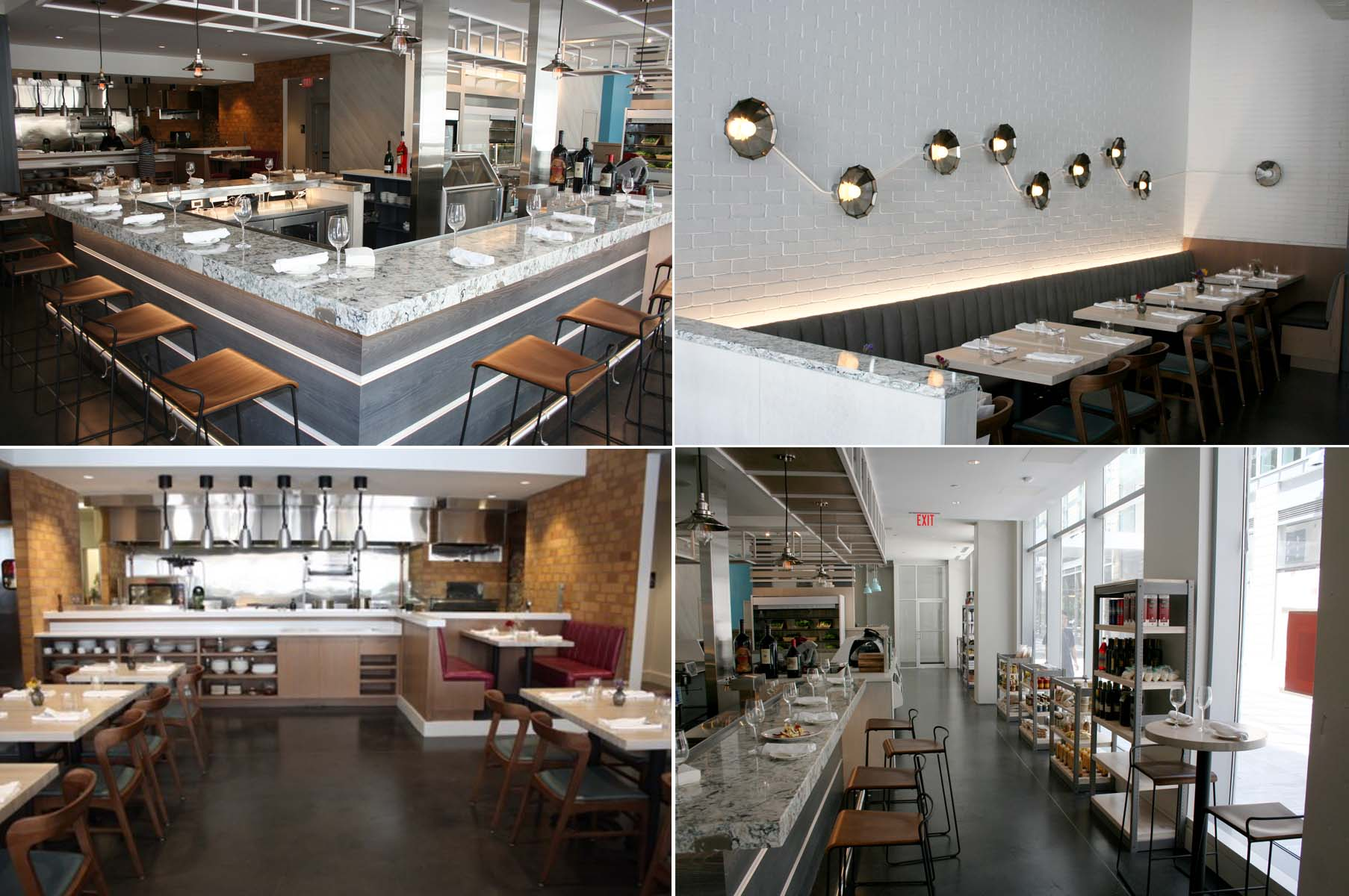 The restaurant's bar (clockwise from top left), dining room, bar and market and kitchen. (Photos: Mark Heckathorn/DC on Heels)