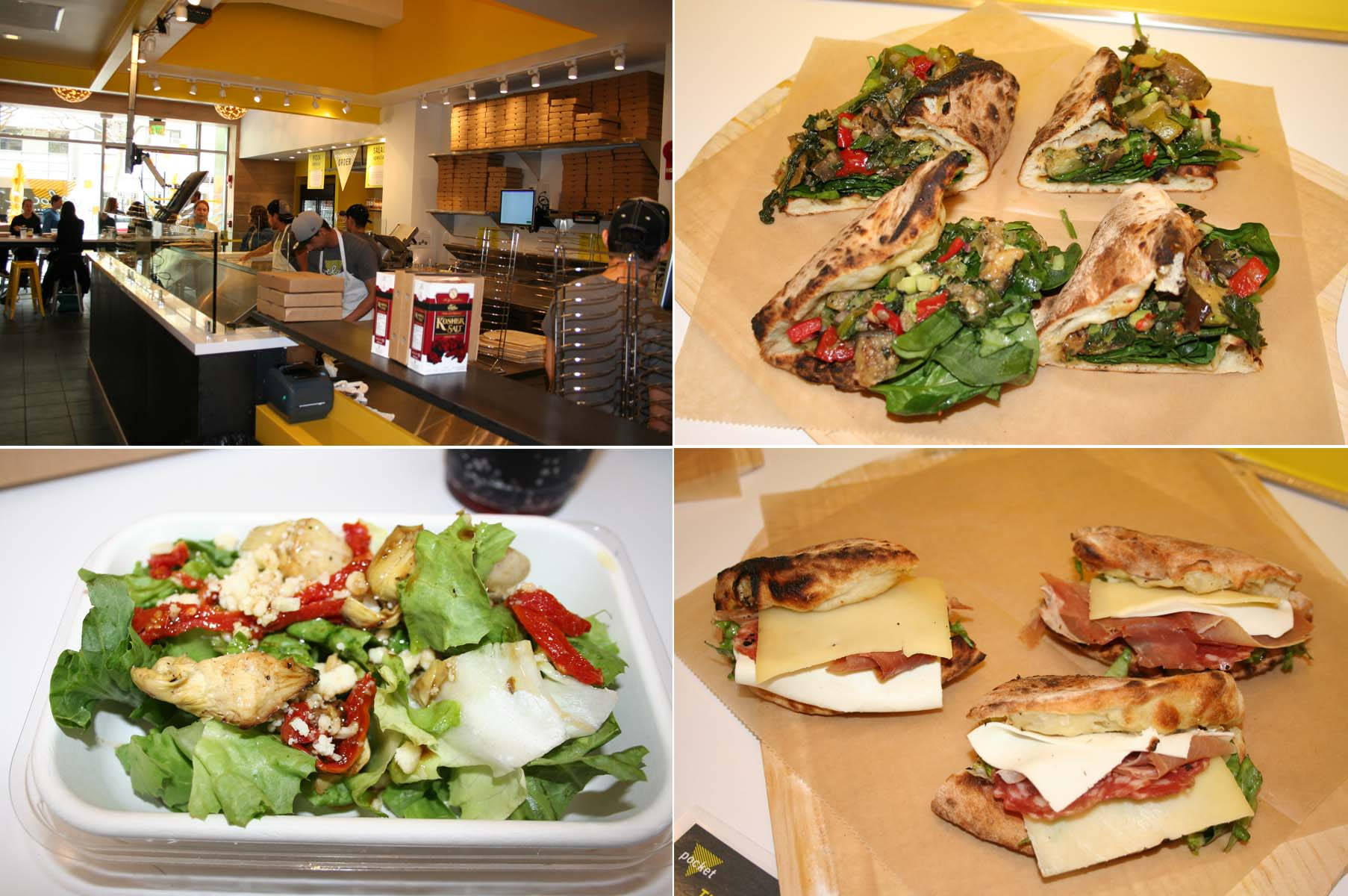 Veloce's interior (clockwise from top left), the grab-and-go roasted veggie pocket, the spicy Deli pocket and the artichoke salad. (Photos: Mark Heckathorn/DC on Heels)