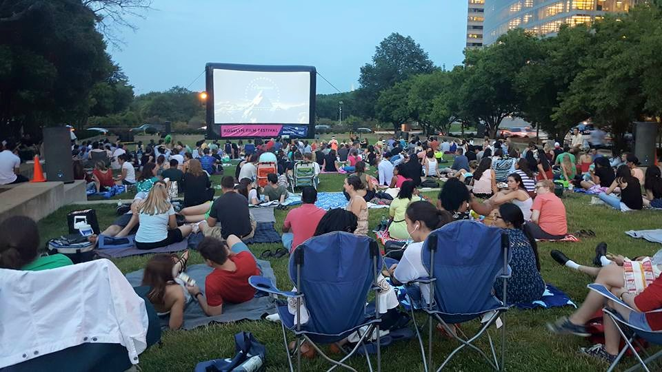 Rosslyn Outdoor Film Fest brings movies to Gateway Park each Friday evening through August. (Photo: Rosslyn BID)