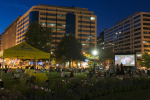 The Golden Cinema series brings a movie to Farragut Square each Friday evening through the end of July. (Photo: Golden Triangle BID)