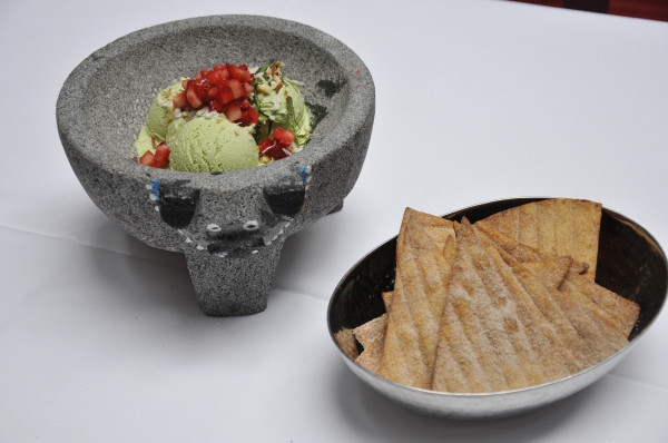 Rosa Mexicano's ice cream festival brings back the postre de guacamole, a sweet, frozen take the restaurant's signature guacamole en molcajete. (Photo: Rosa Mexicano)
