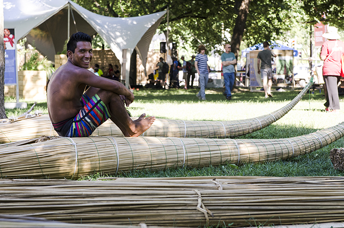 If you need a break at the Folklife Festival,  take a seat in a totora reed raft, used for fishing and surfing off the coast of Huanchaco. (Photo: Josh Weilepp/Ralph Rinzler Folklife Archives)